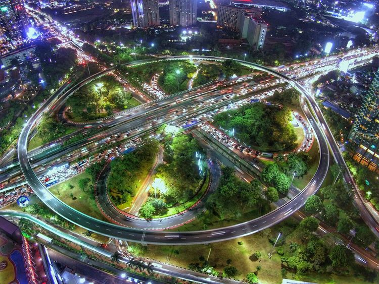 simpang susun semanggi EyEmNewHere Midrone Lighttrailsphotography Aerial Photography EyeEm Best Shots Lighttrails Night Outdoors Road No People Speed Mobility In Mega Cities