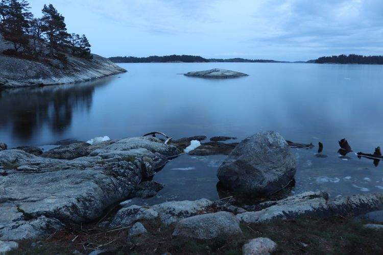Coastline Sweden Blue Shore Water Rocks Sea
