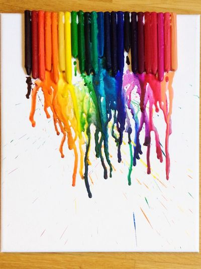 Rainbow Colors Colors Wax Wax Crayons Heated Melting