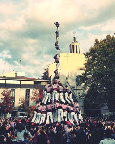 Human Towers Castellers Catalunya Catalunyaexperience Catalonia Crowd Large Group Of People Architecture Built Structure Catalunya Is Not Spain Catalunyalove Culture Catalanculture Emotion Emotional Photography