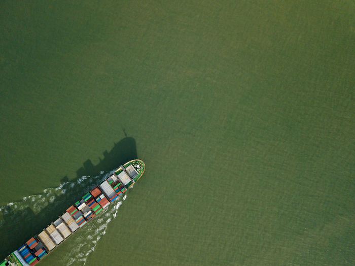 Aerial View Of Cargo Container In Sea