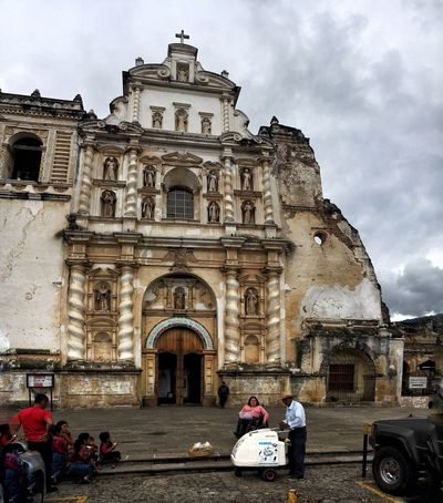 Church Ice Cream Truck Sky And Clouds Antigua Guatemala