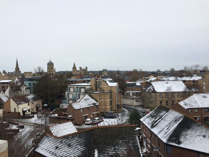 Oxford Outdoors Oxford Building Exterior Architecture Built Structure Sky Building City Day Residential District No People High Angle View Nature Cold Temperature Snow Copy Space Winter Roof Cityscape Clear Sky Outdoors TOWNSCAPE