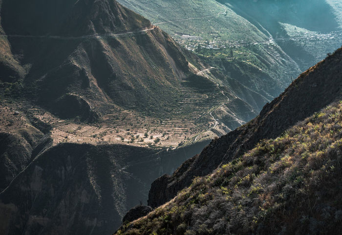 The beautiful way down the Colca Canyon. Nature Outdoors Adventure South America Latin America Explore Discover  Camping Backpacking Backpack Canyon River Mountain No People Formation Idyllic Geology Valley Non-urban Scene Tranquil Scene Tranquility Environment Mountain Range Road Mountain Road
