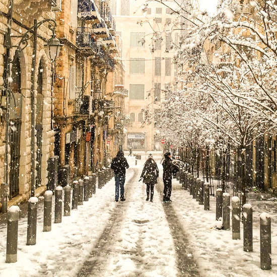 Architecture Building Exterior City Coat Cold Cold Temperature Day Israel Jerusalem Lamps Men Outdoors Passing By People Snow Snow ❄ Snowing Tree Walking Winter Winter