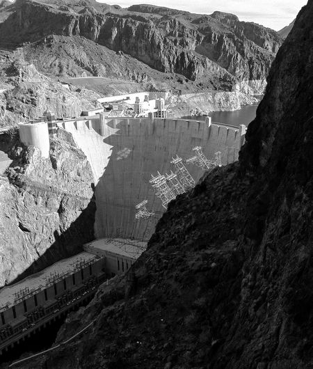 Blackandwhite Nevada Photography Dam Hydroelectric Power Mountain Fuel And Power Generation Built Structure Outdoors Architecture Nature Rock - Object Mountain Range Day No People Beauty In Nature