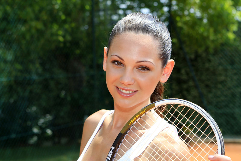 young female tennis player Fun Happy Tennis Tennis Player Woman Action Day Female Fit Fitness Girl Happyness Leisure Leisure Activity One Person Outdoors Pretty Racket Smile Smiling Sport Sportive Young Adult Young Women