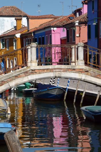 Building Exterior Architecture Built Structure Nautical Vessel Water Reflection Building City No People Day Waterfront Canal Outdoors Residential District Travel Venice Burano Burano Island Burano Venice Lagoon
