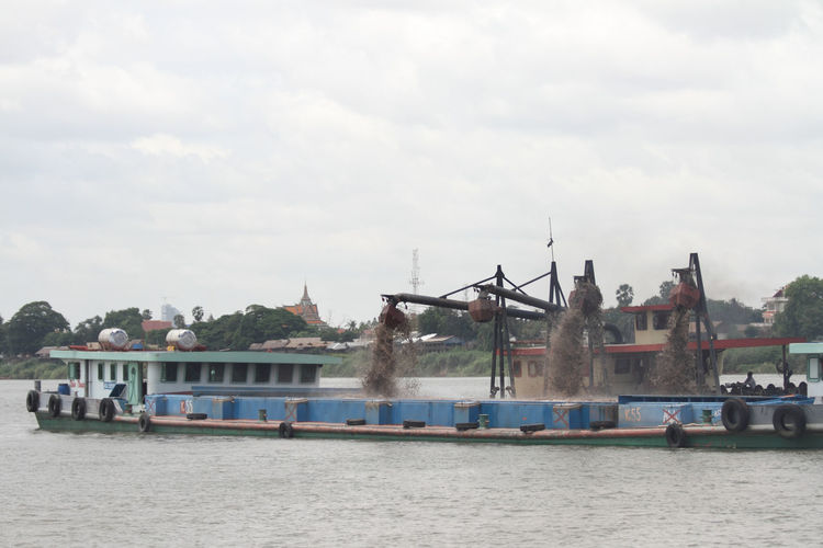 Around Phnom Penh Boat Cambodia Cloud - Sky Day Dredge Dredger Ship Mekong Nautical Vessel Outdoors Phnom Penh River Sand Sky Water