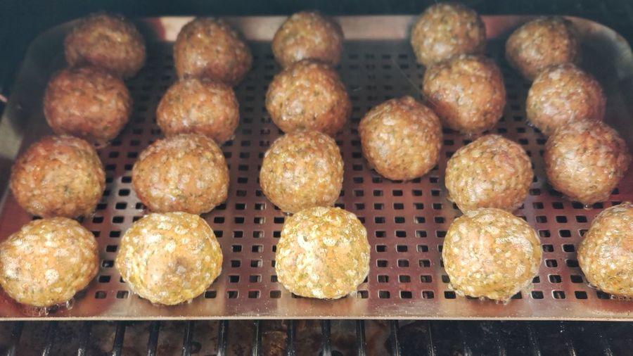 High angle view of meatballs