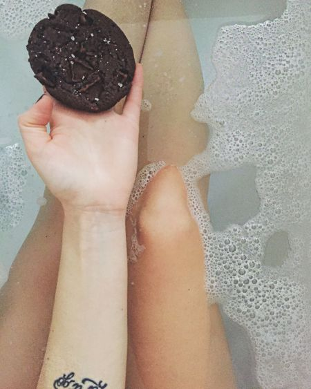 Bath Bathroom Having A Bath Brownies Chocolate Saltedcaramel Always Be Cozy Chilling Relax TimeForMyself Real People Lifestyles One Person Water Women Leisure Activity Food And Drink Holding Close-up Wet Food Human Leg Day
