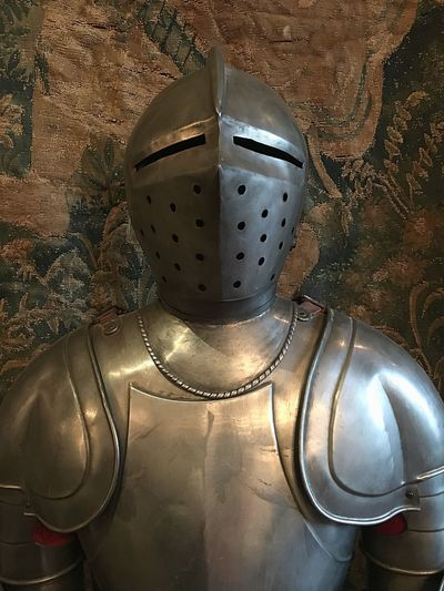 Suit Of Armor Armoured Warm Clothing Steel Medieval History Armour Helmet Indoors  No People Close-up Day