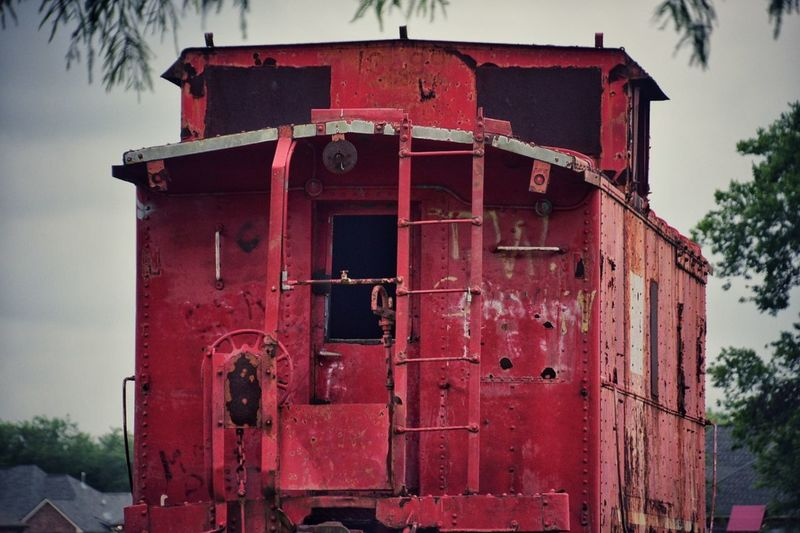 Things you find along the way Red Outdoors No People Built Structure Day Sky Red Color Caboose Traincar Red Caboose