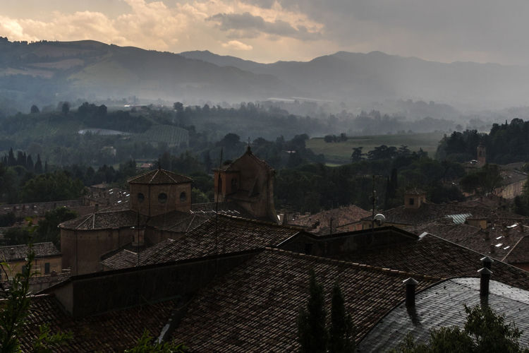 Brisighella, Italy Brisighella Italy Italia Emiliaromagna No People Outdoors Architecture Built Structure Building Exterior Mountain Building Fog Sky Roof Cloud - Sky High Angle View Tree Nature House Residential District Mountain Range Environment Beauty In Nature Landscape TOWNSCAPE