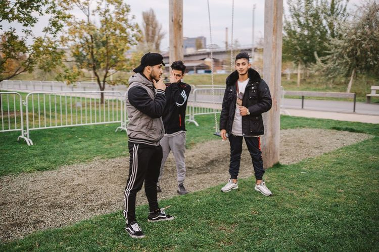 That swag ✨ Togetherness Teenager Standing Leisure Activity Soccer Outdoors Full Length People Sport Lifestyles Adult Friendship Playing Field Sports Clothing Young Adult Adults Only Hipster Swag Iraqi  Refugees Arabic Arabic Style Three People Young Men Friends