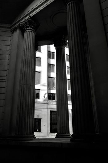 Architectural Column Built Structure Architecture No People Building Exterior Building History Low Angle View The Past Day Colonnade Outdoors Window Courthouse Dark Illuminated Entrance Banking Government London
