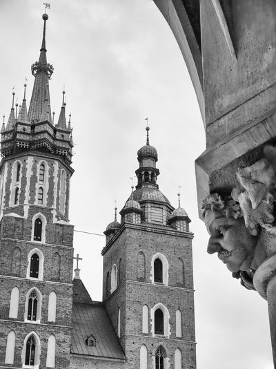 Krakow Focus On Foreground Focus Stacking Built Structure Architecture Building Belief Spirituality History The Past Low Angle View Travel Destinations Sculpture Nature Tower Gothic Style Religion Poland Europe Krakow Center No People Sky Day Bw Bw_collection