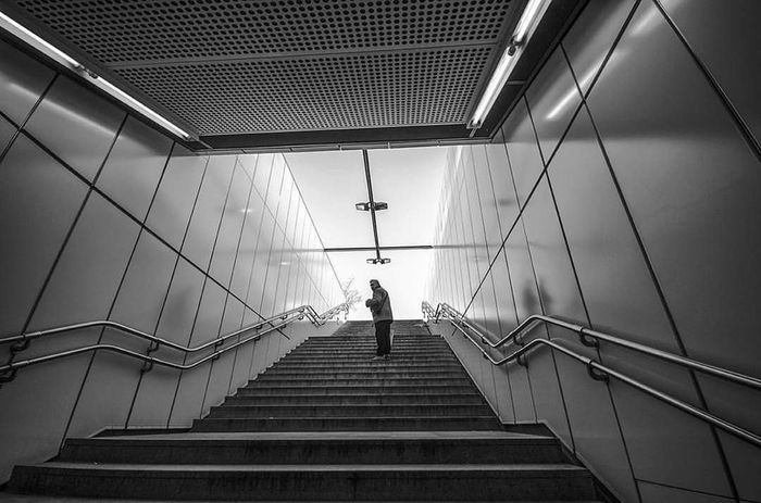 Men Built Structure One Person Real People Blackandwhite Black And White Black And White Photography Building Exterior Silhouette Street Photo Black & White Urban Budapest_hungarybudapest Budapest, Hungary Streetphotography