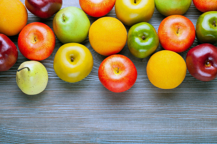 High angle view of colorful tomatoes