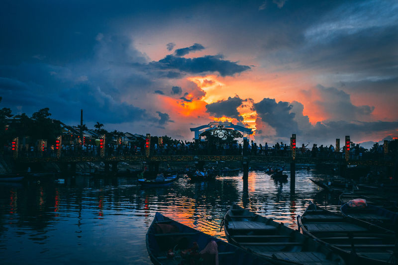 Sunset at a popular spot in Hoi An in Vietnam. ASIA Travel Travel Photography Vietnam Cloud - Sky Mode Of Transportation Nautical Vessel Orange Color Outdoors Reflection Sky Sunset Transportation Travel Destinations Water Waterfront