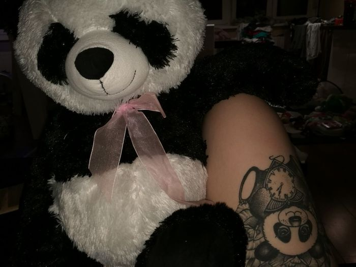Tattoo #panda #tattoogirl #inkedmommy #inkedgirls Love Animal Themes One Person One Woman Only Only Women Adults Only Adult Tattoo People Night Human Body Part One Young Woman Only Real People Indoors