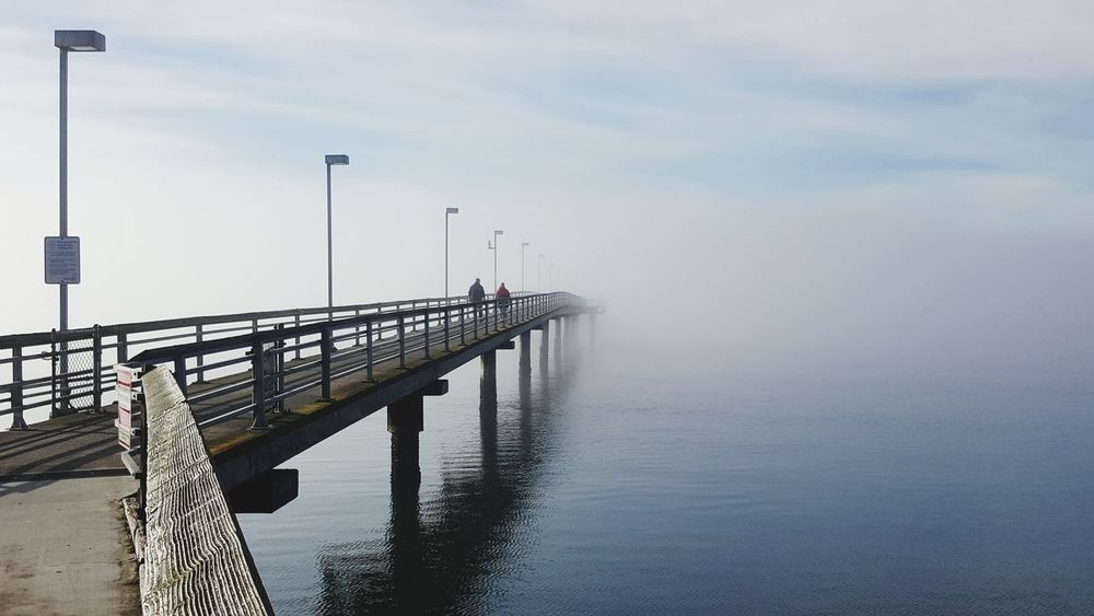 Foggy pier First Eyeem Photo Foggy Outdoors Pier Pair Couple Barely Visible Nature Day EyeEmNewHere Lost In The Landscape