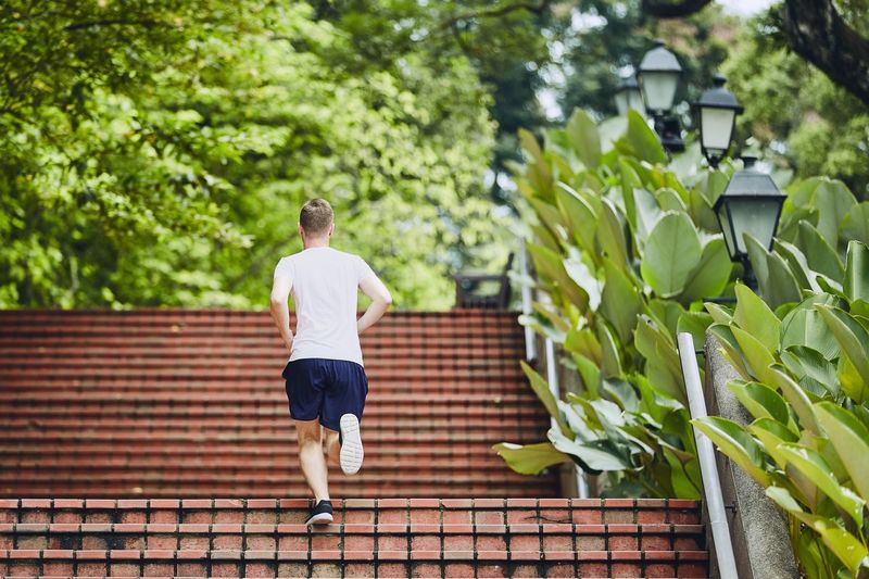 Rear View Of Man Running On Steps Against Trees