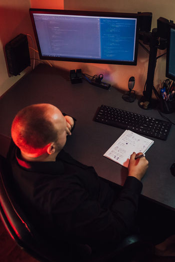 High angle view of man working computers