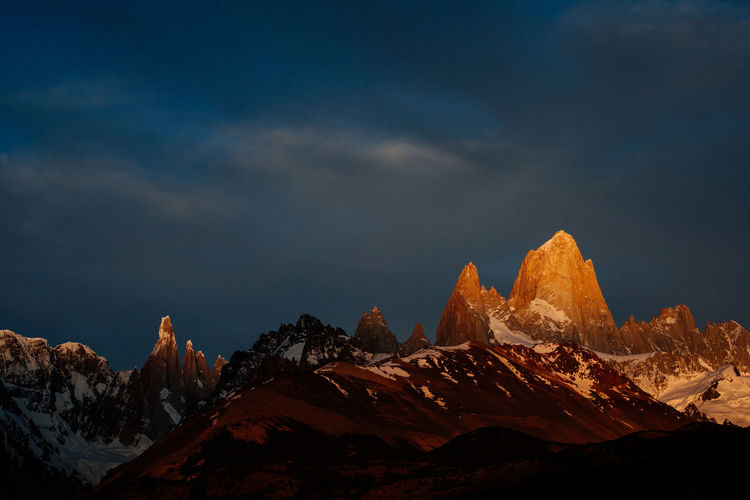 Sunrise over El Chaltén Mountain Beauty In Nature Tranquil Scene Scenics - Nature Nature Tranquility Mountain Peak Non-urban Scene Environment Mountain Range Landscape Rock Sky Remote Rock - Object Outdoors Formation Cloud - Sky No People El Chalten Patagonia Argentina Fitz Roy Mountain Fitz Roy Cerro Torre First Eyeem Photo