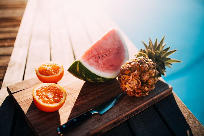 Fresh Freshness Fruit Pineapple Summer Swimming Swimming Pool Watermelon