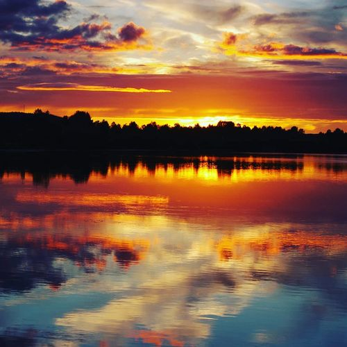 Tree Lake Silhouette Multi Colored Rural Scene Dramatic Sky Sky