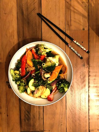 Takeout Food And Drink Food Healthy Eating Wellbeing Table Vegetable Freshness Plate Fruit Still Life No People Salad High Angle View Ready-to-eat Healthy Lifestyle Wood - Material Directly Above Indoors  Bowl Serving Size