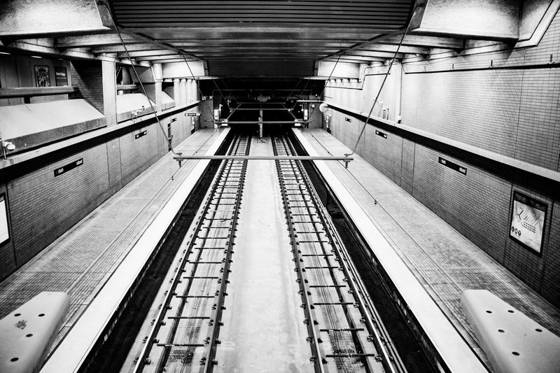 BART After Hours Architecture Black And White Diminishing Perspective High Angle View Illuminated Indoors  Mode Of Transportation No People Public Transportation Rail Transportation Railroad Station Platform Transportation