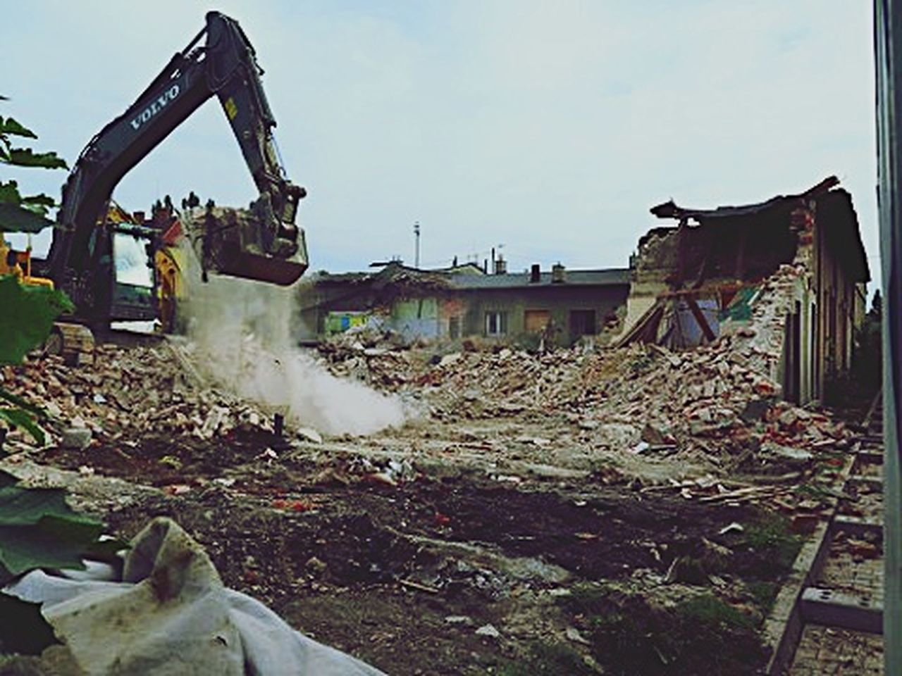 industry, business finance and industry, destruction, rubble, no people, day, outdoors, sky, oil pump