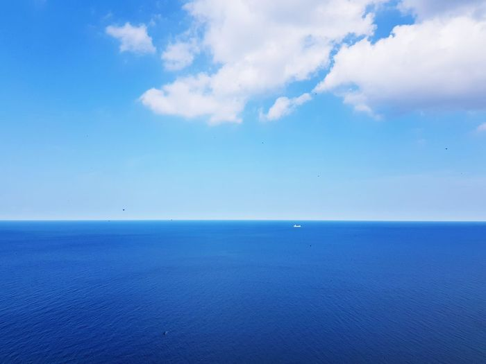 Sky or sea is like fish or chips Water Ship Horizon Over Water Horizon Water Sea Flying Blue Bird Sky Horizon Over Water Cloud - Sky Sky Only Meteorology Cumulus Cloud Cumulonimbus Stratosphere Cirrus Seascape Calm Coastline Cloudscape Heaven Idyllic Island