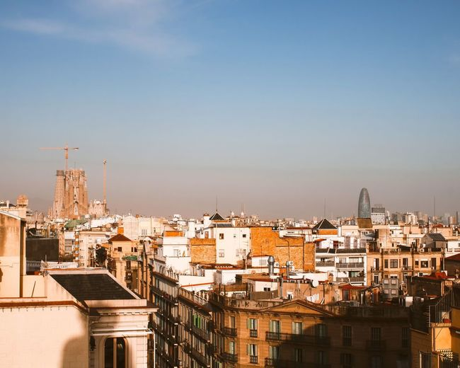 High-angle view of sagrada familia in barcelona