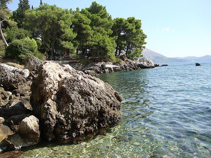 Mlini beach, Dubrovnik Beach Beauty In Nature Clear Sky Cliff Day Growth Landscape Mlini Mlinibeach Nature No People Outdoors Rock - Object Scenics Sea Sky Srebreno Tranquil Scene Tranquility Tree Water