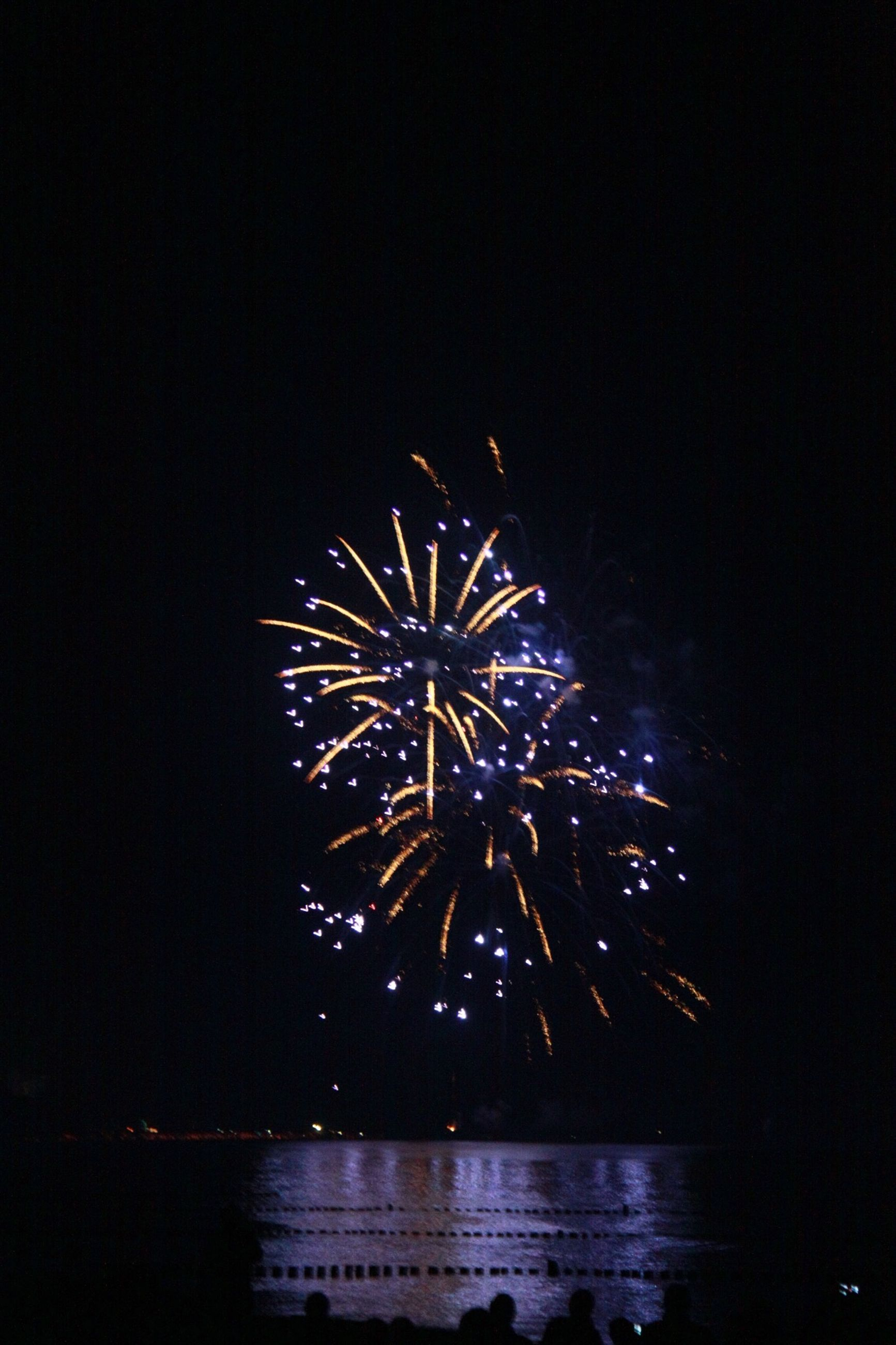 illuminated, night, firework display, celebration, arts culture and entertainment, exploding, long exposure, glowing, firework - man made object, motion, sparks, event, firework, sky, low angle view, entertainment, celebration event, blurred motion, multi colored, water