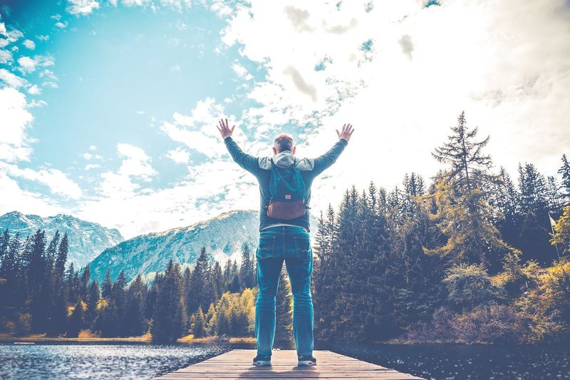 Cree Dom Freedoom  Standing One Person Tree Leisure Activity Full Length Arms Outstretched Real People Outdoors Mountain Day Lifestyles Nature Arms Raised Beauty In Nature Sky Happiness
