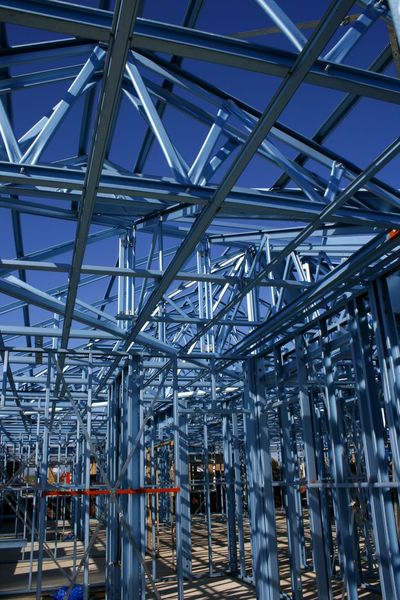 Steel framed housing under construction in Australia Australia Construction Site Industry Steel Frame Architecture Building Interrior Built Structure Complexity Day House Building Housing Indoors  Industry Metal Metal Industry No People Steel Technology