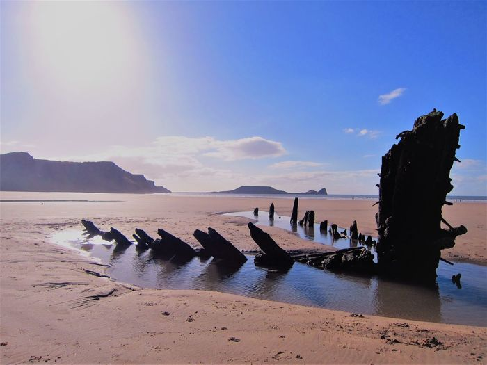 Scenic view of shipwreck on beach against sky