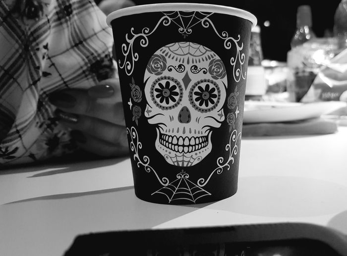 Party Alcohol Picoftheday Photography Drinking Glass Haloween Art Blackandwhite Skull Party Horror Dark Rum Ice Cube Pattern Decoration