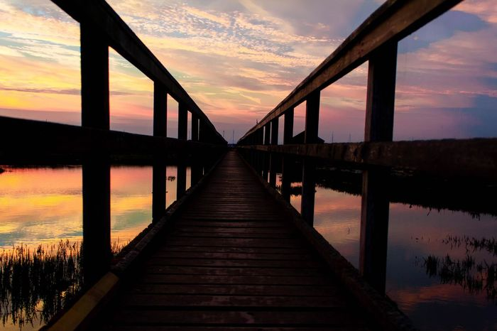 Water Sunset Lake Bridge - Man Made Structure Sky Architecture Built Structure Cloud - Sky Horizon Over Water Footbridge Pier Jetty