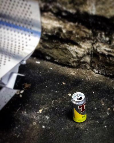 Tennents Lager Alcohol Can Tin Rubbish Trash Haymarket Edinburgh Yellow