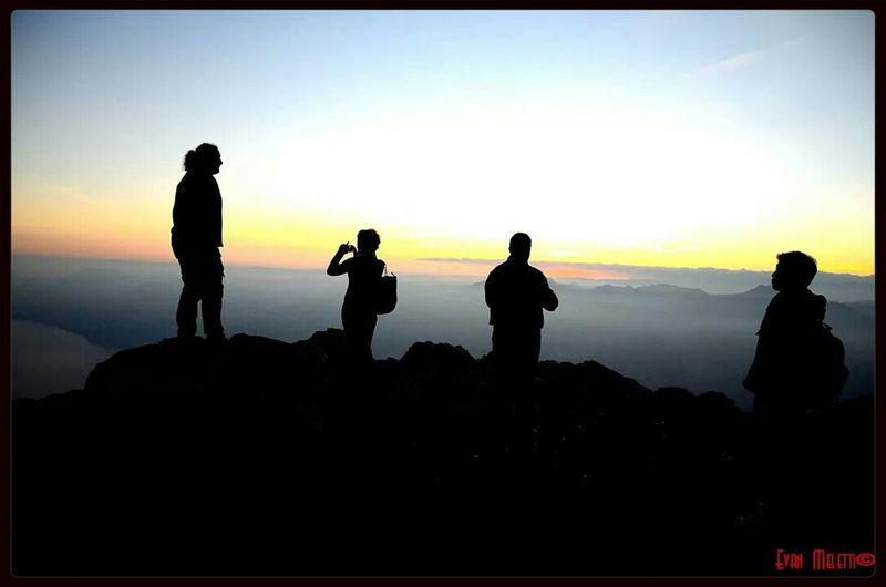 Mountains Lake People Watching Sunset