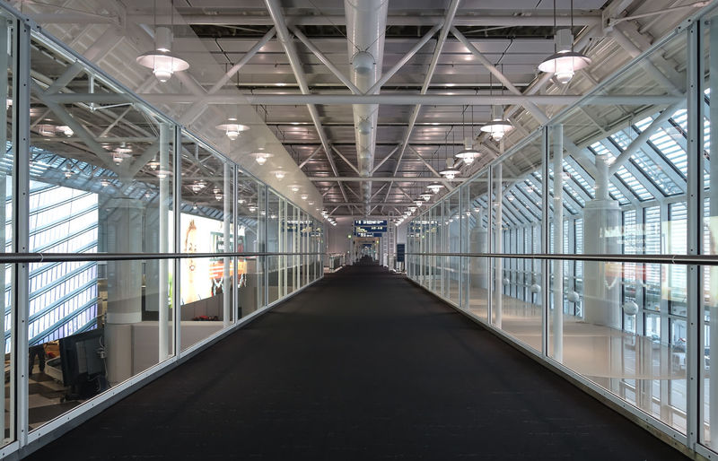 Interior Of Empty Airport Corridor