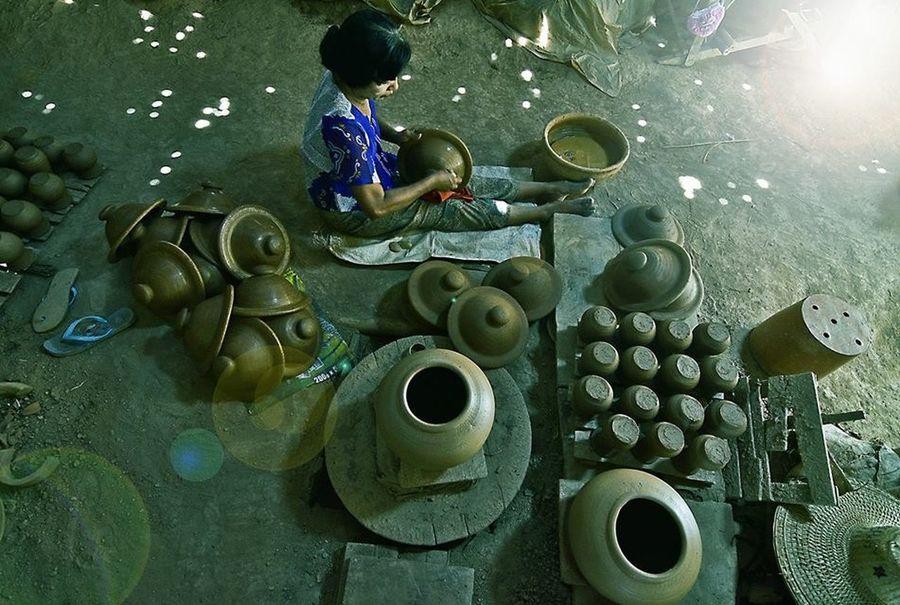 Traditional pot maker @downtown Myanmar Travel Photography Potrait_photography Bkkwavestudio Sport In The City Yangon, Myanmar Pot Maker