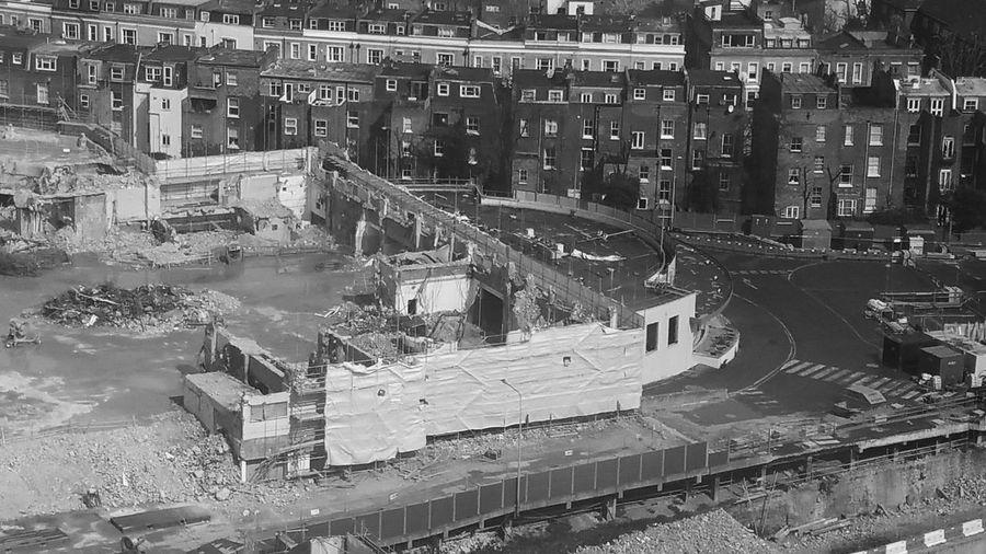 Construction rubble site across city