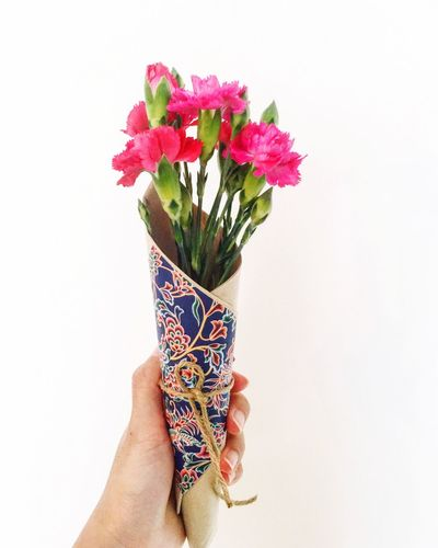 Human Hand Flower Human Body Part Bouquet Human Finger Holding Real People One Person Flower Arrangement White Background Vase Multi Colored Studio Shot Freshness Women Flower Head Close-up Beauty In Nature Lifestyles Indoors  Carnation Singapore No People