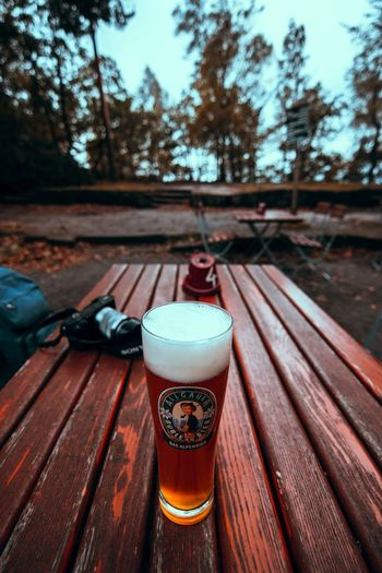 A cold Beer Beer Alcohol Beer Beer - Alcohol Beer Glass Beerglass Bookeh Bookeh Effect Close-up Day Depth Of Field Drink Drinking Glass Focus Focus On Foreground Food And Drink Freshness Glass Nautre No People Outdoors Refreshment Table Tree Wood - Material